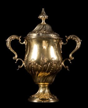 George III gilt washed sterling trophy cup c1768