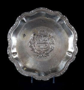 Peruvian Silver Coat Of Arms Wall Plaque