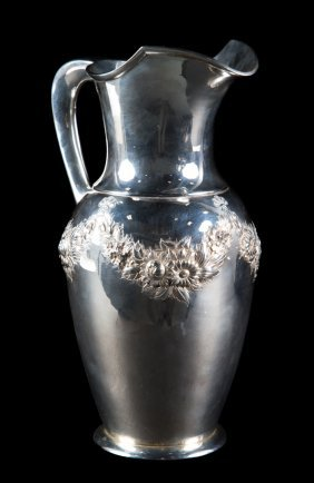 S. Kirk & Son Repousse Sterling Silver Pitcher