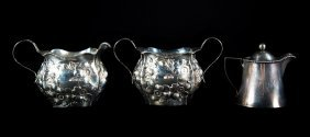 Repousse Sterling Cream Pitcher & Sugar Bowl