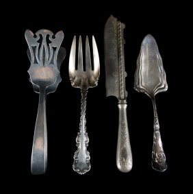 American & Continental Silver Large Flatware Items