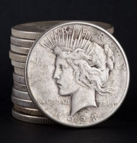 [us] 13 Us Peace Type Silver Dollars, 1923-'26