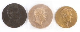 Three Abe Lincoln Bronze Medallions