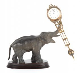 Junghans Spelter Elephant Swinging Clock