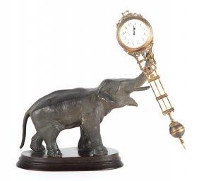 Junghans Spelter Elephant Swinging Clock