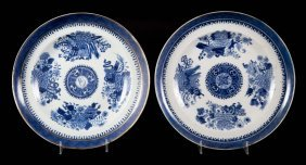 Two Chinese Export Blue Fitzhugh Plates