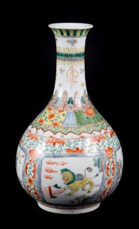 Chinese Export Famille Verte Bottle Vase
