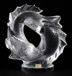 Lalique Deux Poissons Crystal Sculpture