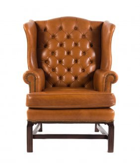 Chippendale Style Leather Wing Chair, Leathercraft