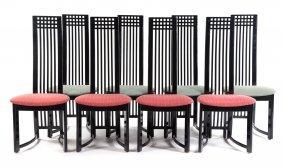 """8 Art Nouveau Style Ebonized """"hill House"""" Chairs"""
