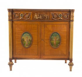 Adam Style Carved & Painted Satinwood Chest