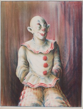 """Russell T. Limbach. """"clown,"""" Color Lithograph"""