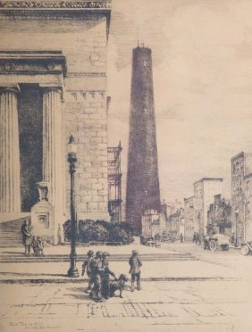 """Gabrielle Clements. """"shot Tower-1926,"""" Etching"""