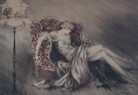 """Louis Icart. """"reverie,"""" Etching And Aquatint"""