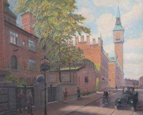 Henrik Rasmussen. Street Scene, Oil On Canvas
