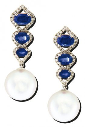 Diamantohrhänger Mit Saphiren Und Südsee-perlen