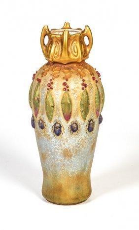 Seltene Vase Mit Käfern Und Lorbeerblättern
