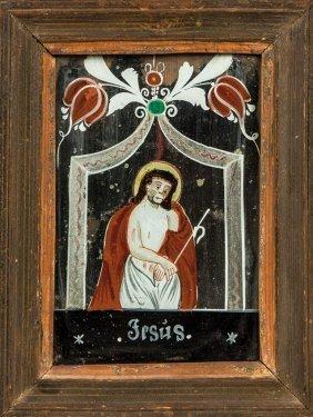Verspiegeltes Hinterglasbild Mit Christus Im Kerker