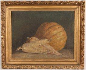 Helen Hudson Still Life Of Corn And Pumpkin