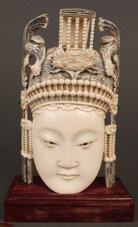 Chinese Carved Ivory Empress W/ Phoenix Headdress