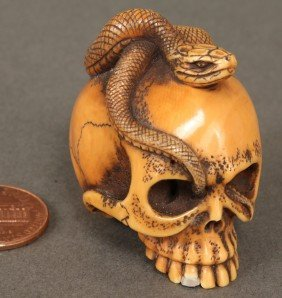 Japanese Ivory Netsuke, Skull & Snake