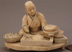 Ivory Okimono Figure, Man Cooking