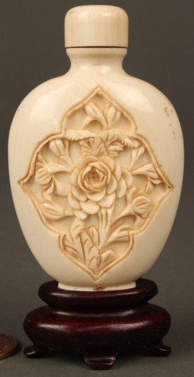 Carved And Painted Ivory Snuff Bottle