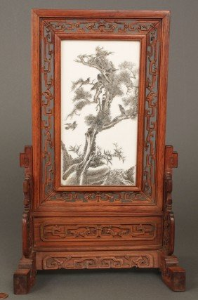 Chinese Republic Porcelain Scholar's Screen