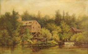 Thomas Campbell Oil On Board, Stream W/ Mill