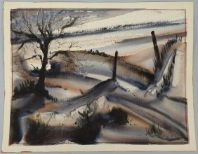 Richard Clarke Watercolor, Winter Landscape