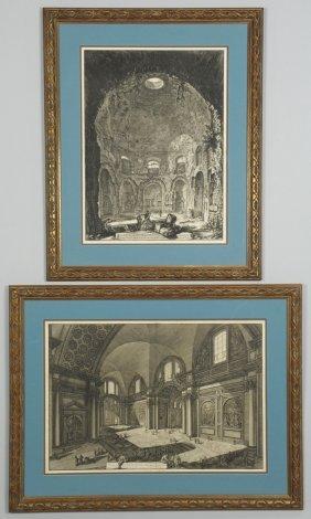 Two Giovanni B.Piranesi Etchings, Interior Scenes