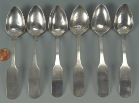 6 Blount County, TN Silver Teaspoons By JB Wells