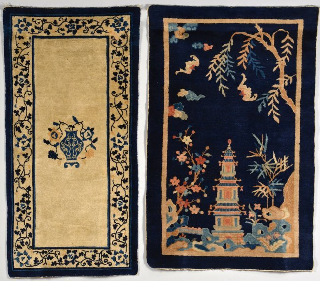 Blue And White Chinese Rugs: Two Chinese Scenic Rugs, Blue & Ivory : Lot 35