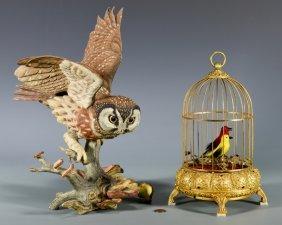 Boehm Owl & French/german Singing Bird Automaton