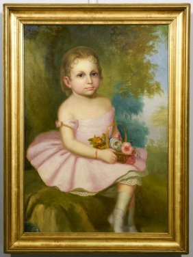 19th Cent. American School Portrait Of Young Girl