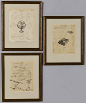 Three (3) Framed Scientific Prints, Bell & Lowry