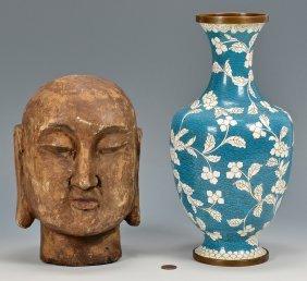 Carved Buddha Head, Cloisonne Vase