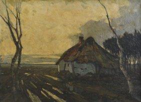 Jules Verstreken Oil on Canvas Landscape