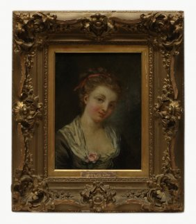 French Oil On Board Of Young Beauty, Early 19th C.