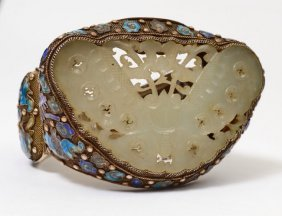 A Chinese Silver Enamel And Jade Bracelet