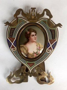 ChamplevÉ Enamel Frame With Porcelain Plaque