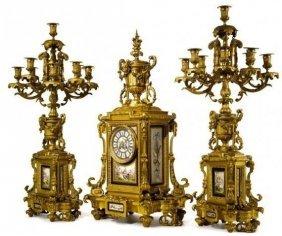 19th Century Ormolu Mounted Sevres Clock Set