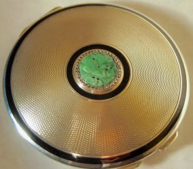 Sterling Silver And Jade Compact London 1913