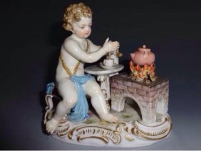 19th Century Meissen Group Depicting Fire