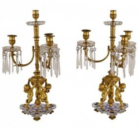 A Pair Of Ormolu And Baccarat Crystal Candelabra