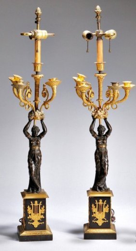 Pair Of 19th Century Empire Style Bronze Candelabra