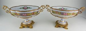 A Pair Of Ormolu Mounted Sevres Style Bowls