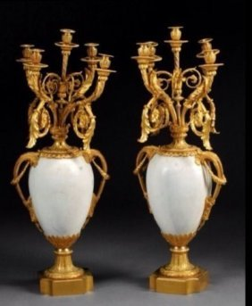 A Monumental Pair Of Ormolu And Marble Candelabra