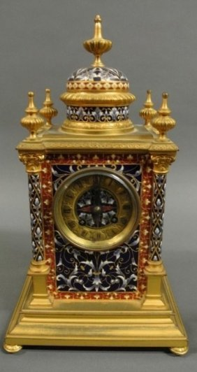 French Antique Champleve Enamel Bronze Clock