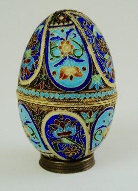 Russian Enamel Silver Egg